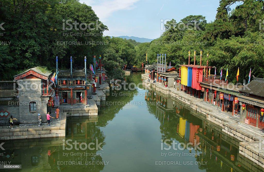 Suzhou Street of Summer Palace, Beijing stock photo