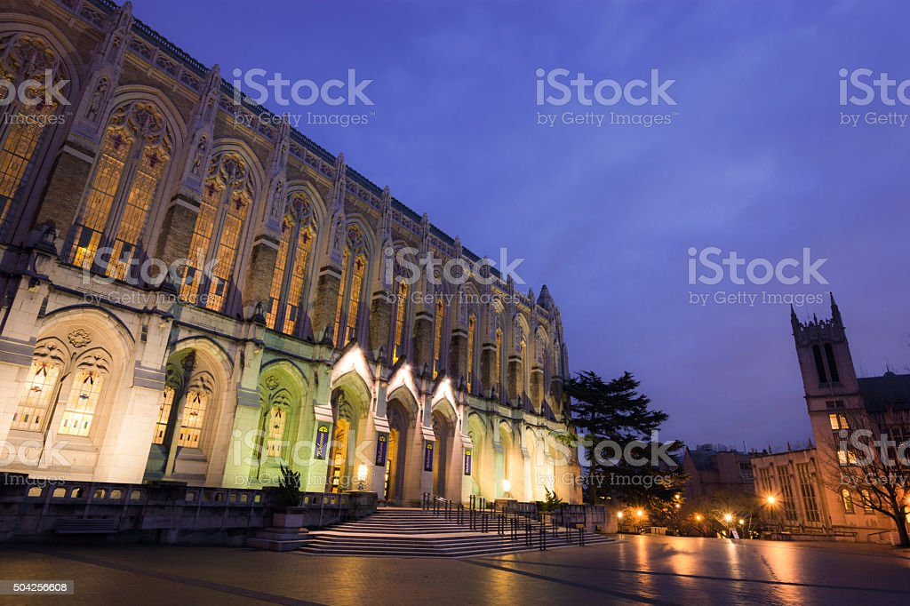 Suzzallo Library at Red Square on University of Washington campus stock photo