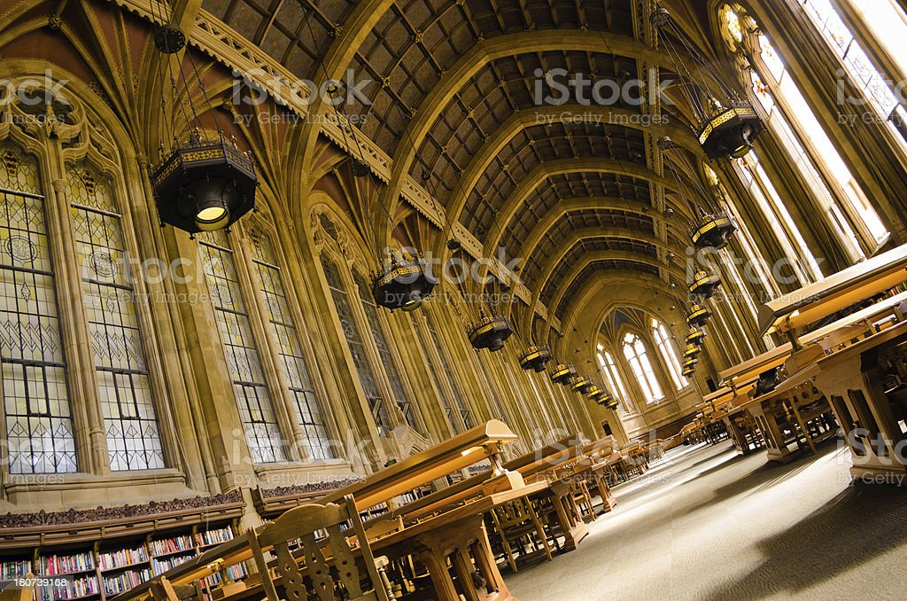 Suzzallo reading room at University of Washington campus in Seattle stock photo