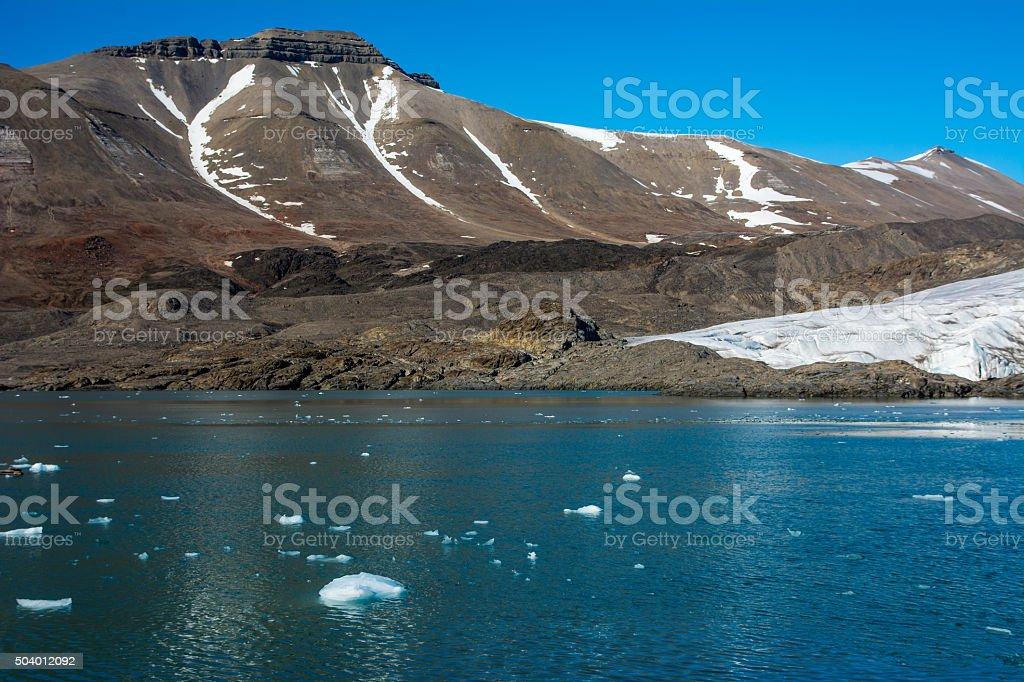 Svalbard Glacier in greenhouse effect. stock photo
