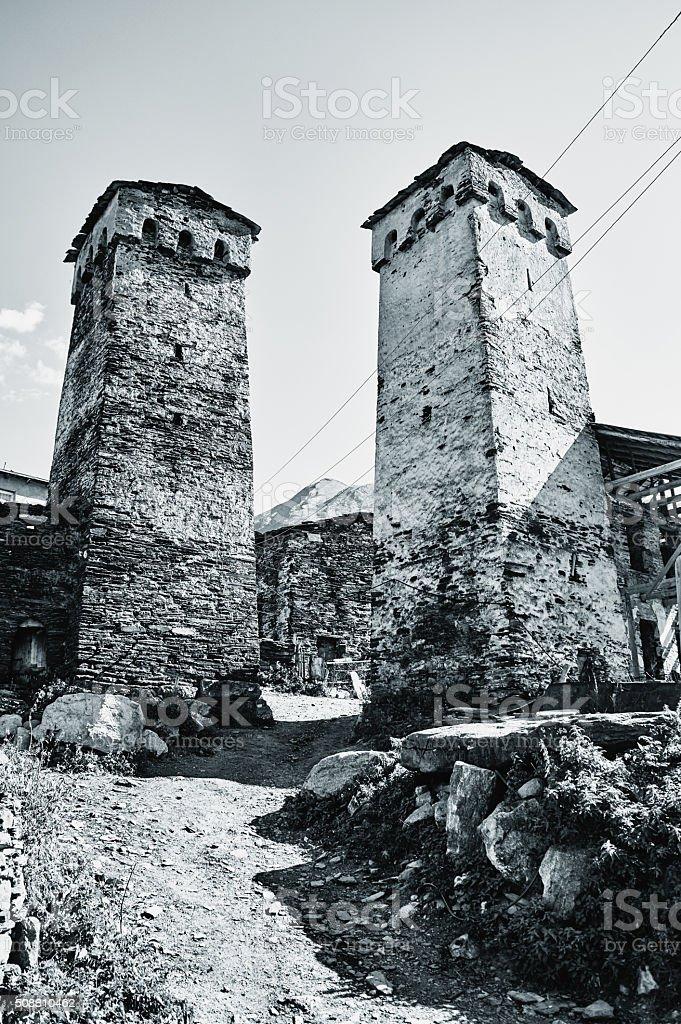 Svan towers in Ushguli. Svaneti, Georgia stock photo