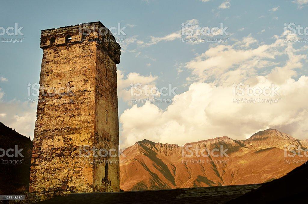 Svaneti tower - Mestia, Georgia stock photo