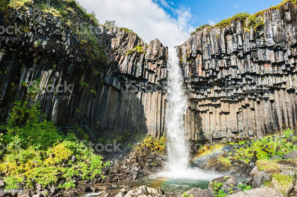 Svartifoss waterfall with basalt columns. stock photo