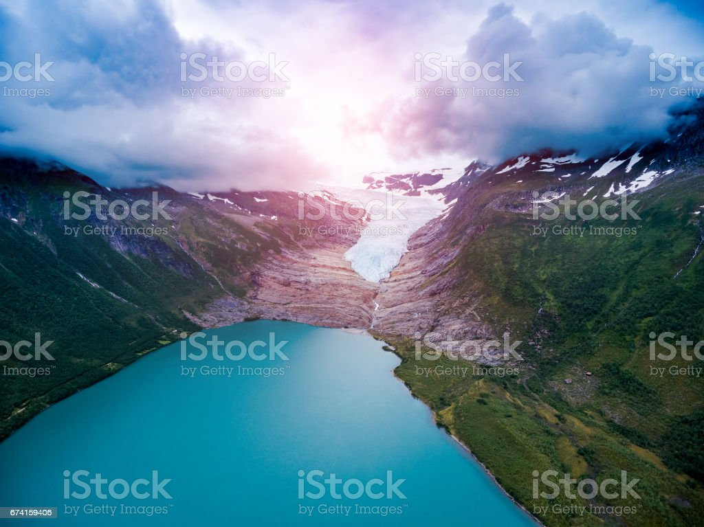 Svartisen Glacier in Norway Aerial view. stock photo