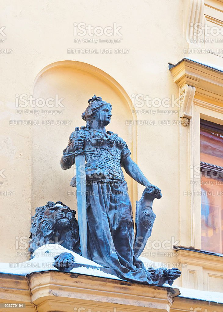 Svea woman viking with sword in winter Stockholm stock photo