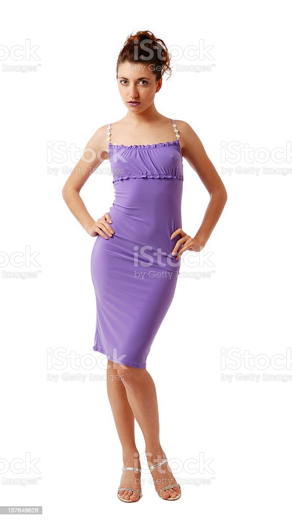 Svelte woman in skintight dress isolated on white stock photo
