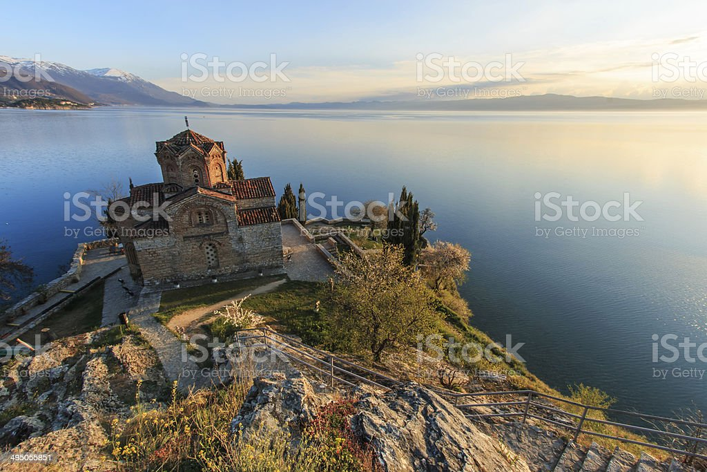 Sveti (Saint) Jovan Kaneo Church on Lake Ohrid, Macedonia stock photo