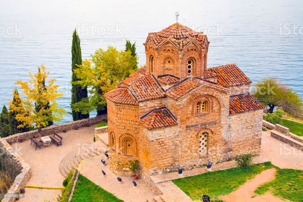 Sveti Jovan Kaneo Church on Lake Ohrid stock photo