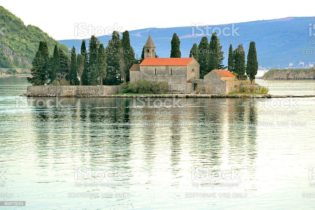 Sveti Đorđe (Island of Saint George) in Bay of Kotor, Montenegro stock photo