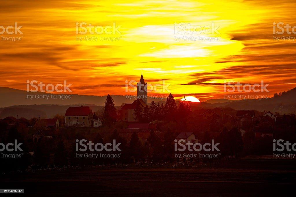 Sveti Petar Orehovec village at sunset stock photo