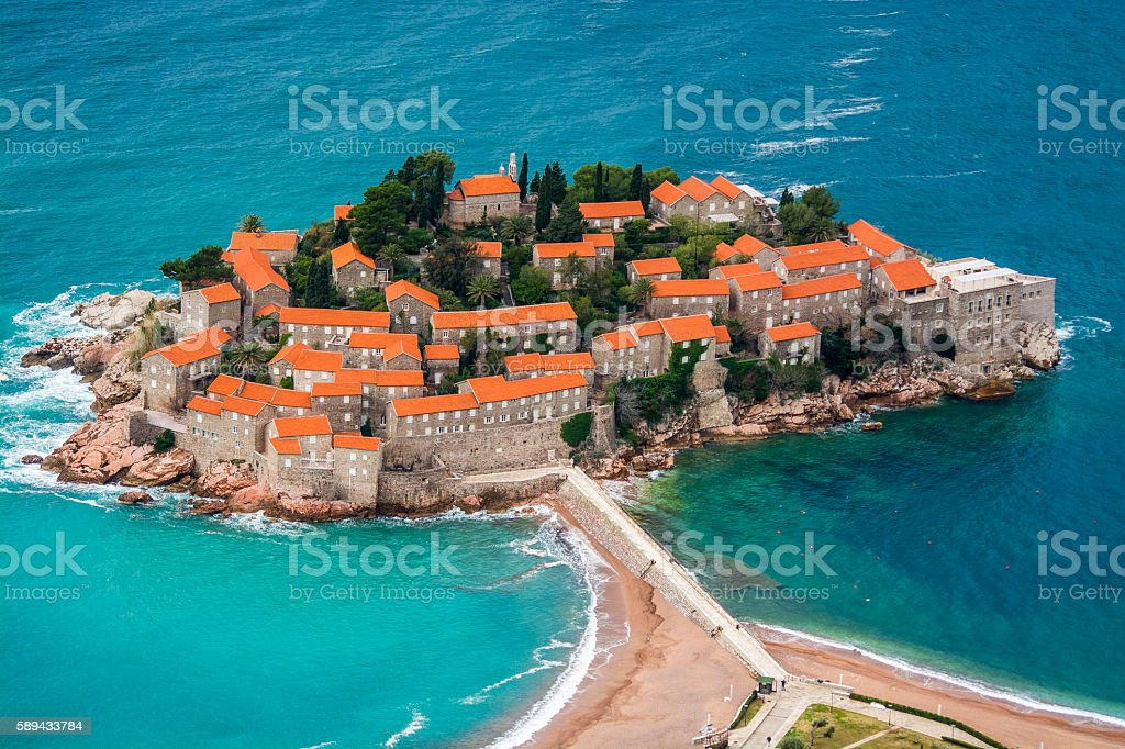 Sveti Steafan island from hill stock photo