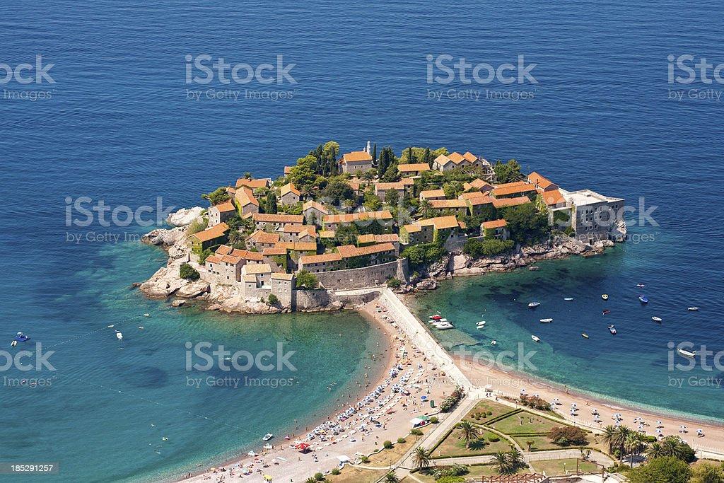 'Sveti Stefan, aerial view' stock photo