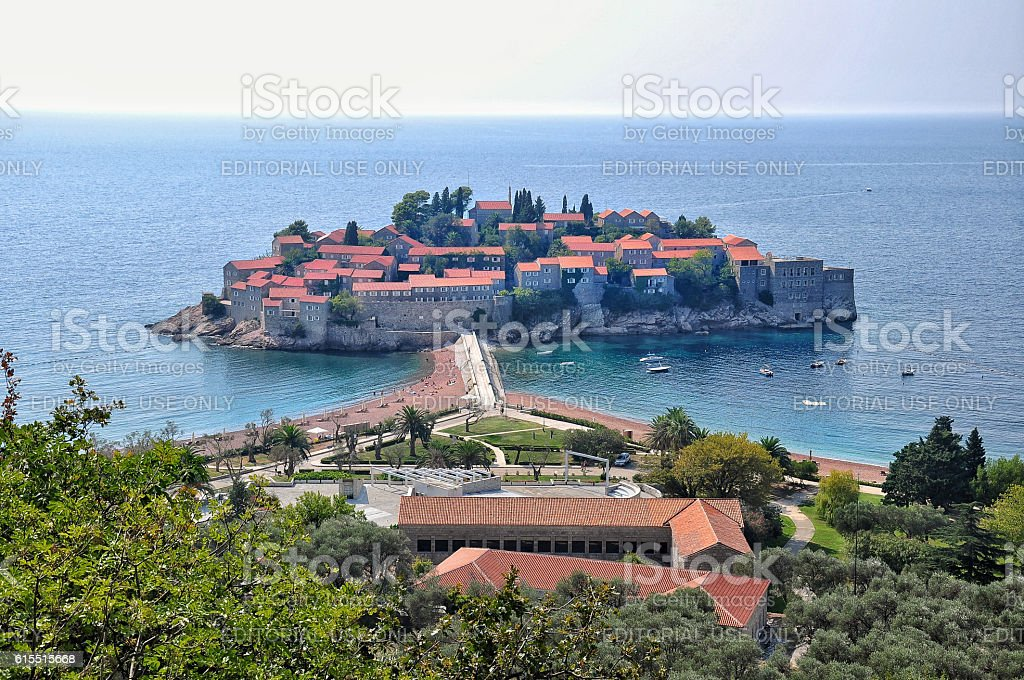 Sveti Stefan is a small islet resort in Montenegro stock photo