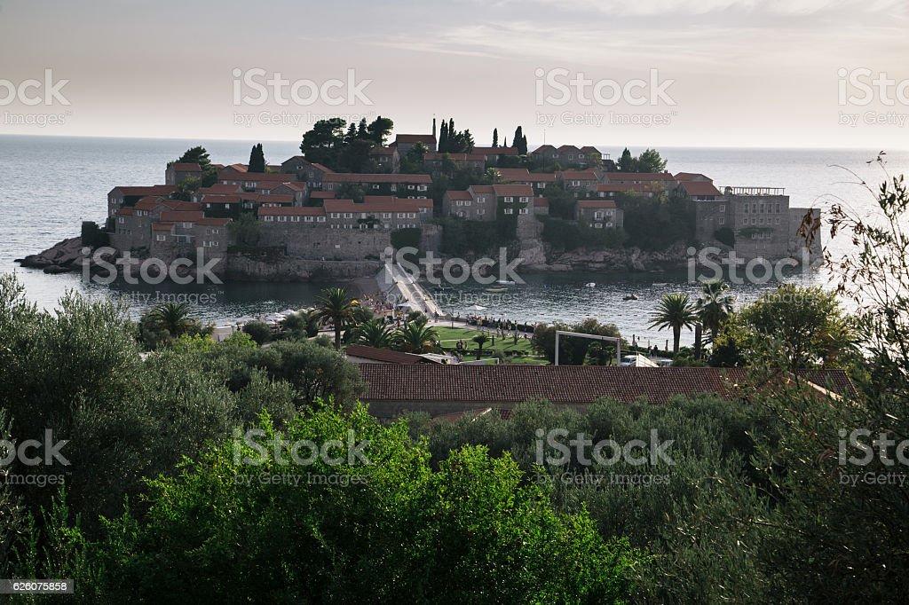 Sveti Stefan island at Adriatic sea sunset, Montenegro stock photo