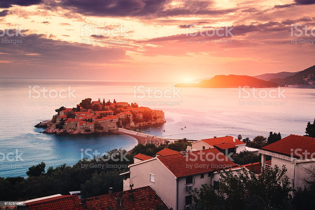 Sveti Stefan island at sunrise. Adriatic sea, Montenegro stock photo