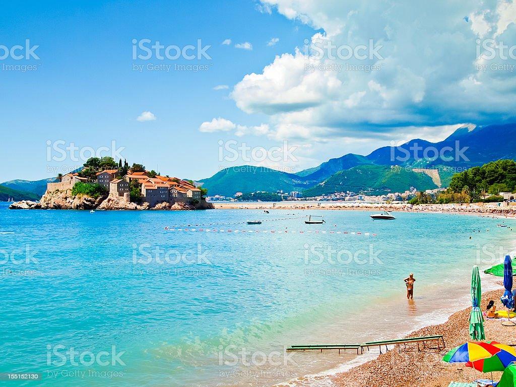 Sveti Stefan Island City, sea, mounitai and part of beach stock photo