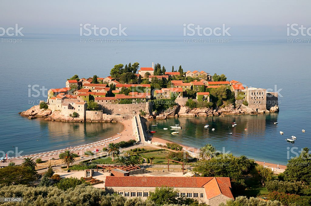 Sveti Stefan island featuring the water stock photo