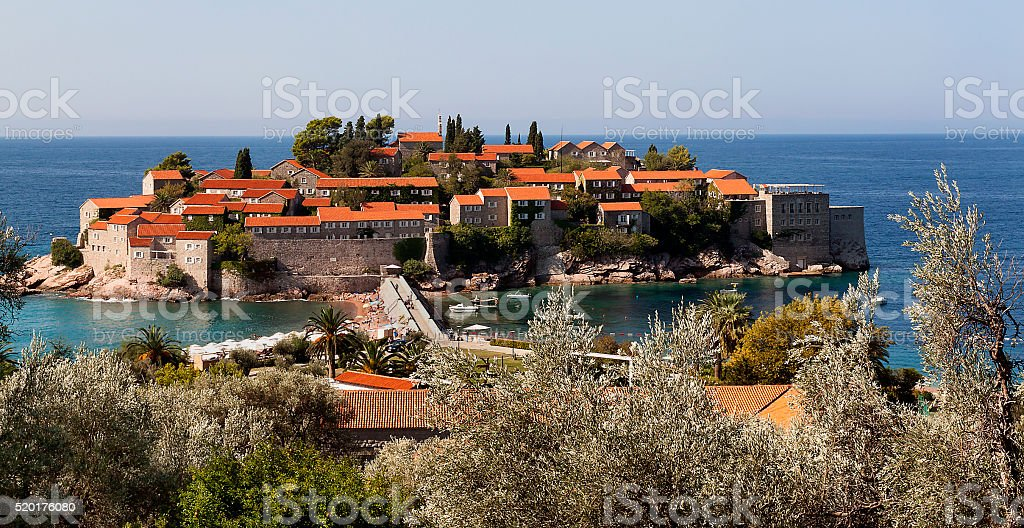 Sveti Stefan island in Budva, Montenegro stock photo
