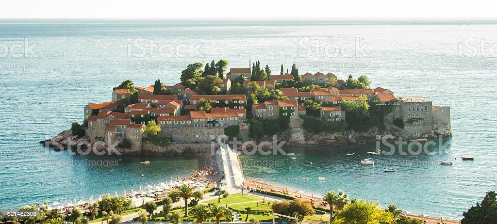Sveti Stefan island in Budva, Montenegro stock photo