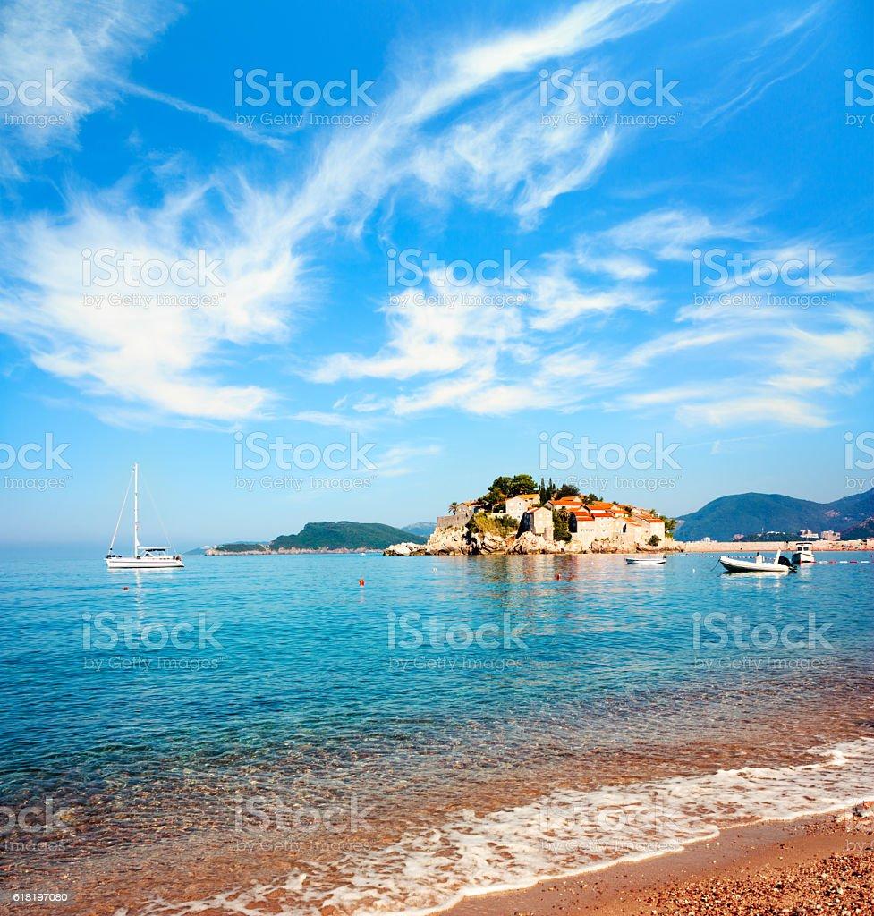 Sveti Stefan Island in Montenegro at Adriatic Sea stock photo