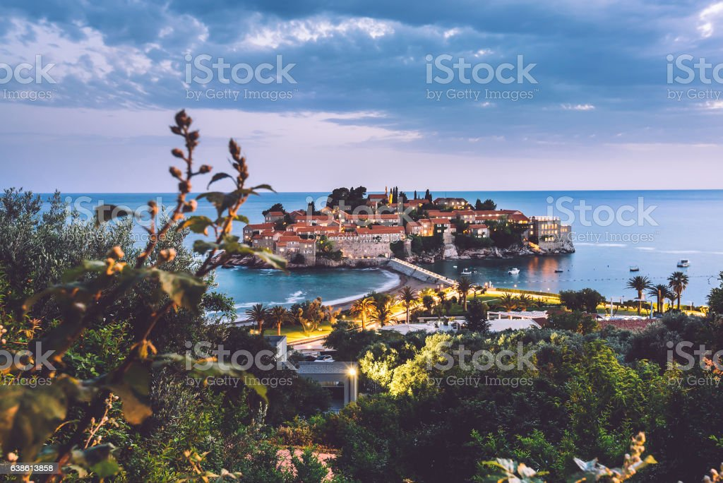 Sveti Stefan Island in Montenegro stock photo