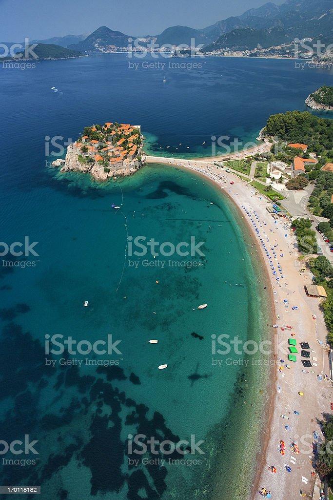 Sveti Stefan Island, Montenegro (aerial view) stock photo