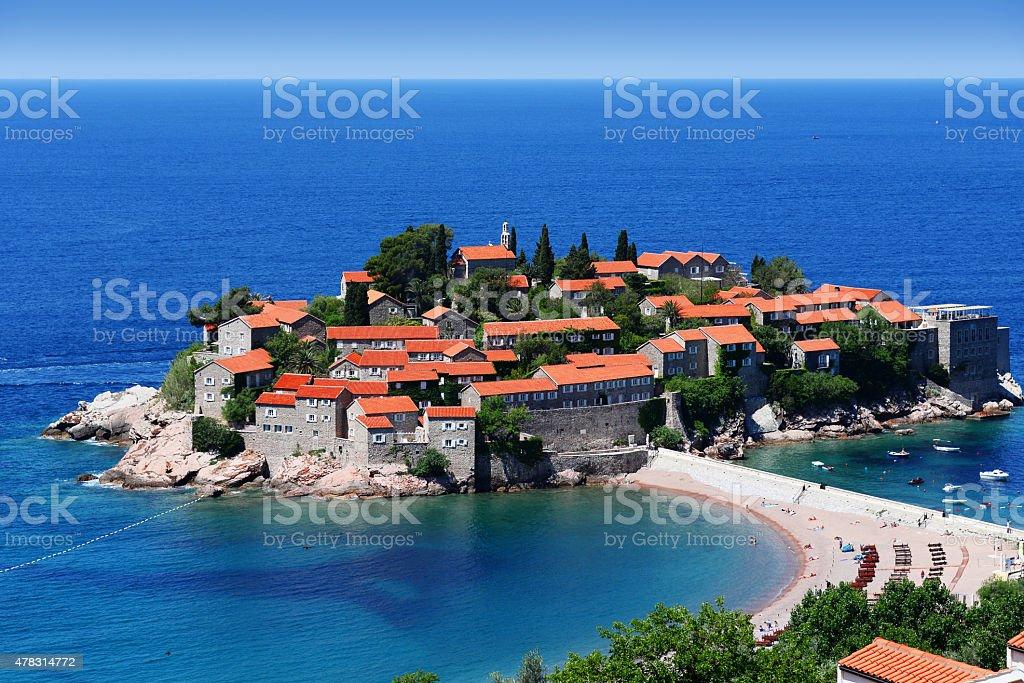 Sveti Stefan island near city of Budva, Montenegro stock photo