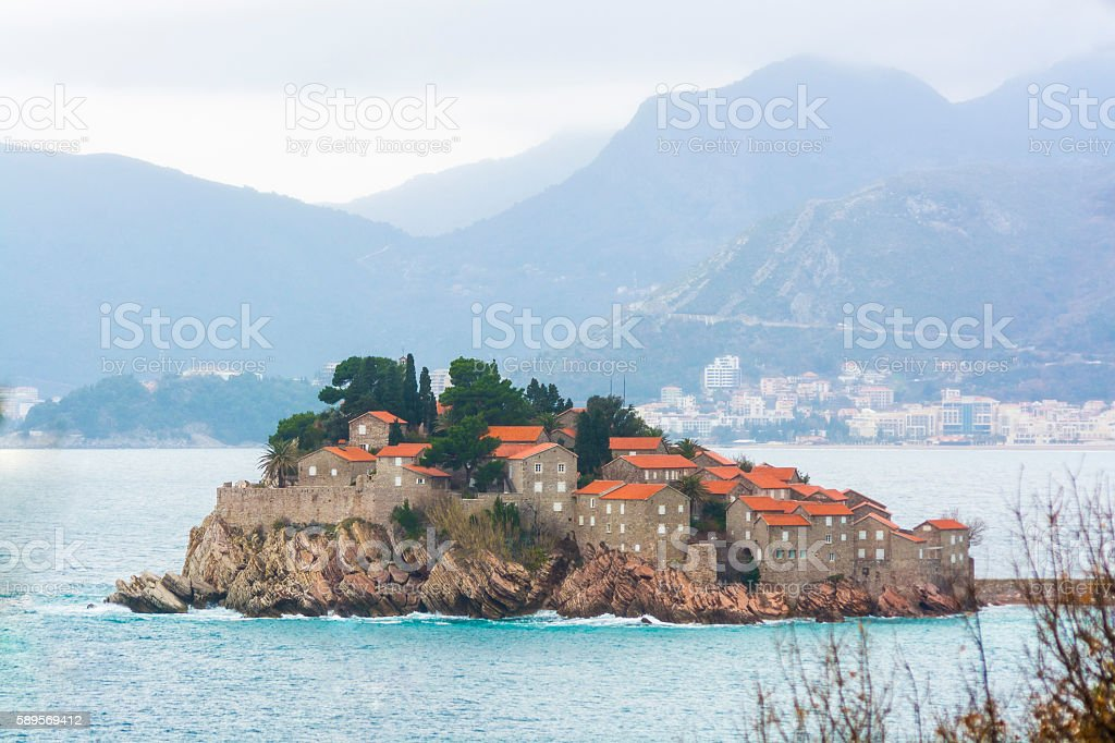 Sveti Stefan island with Budva city stock photo
