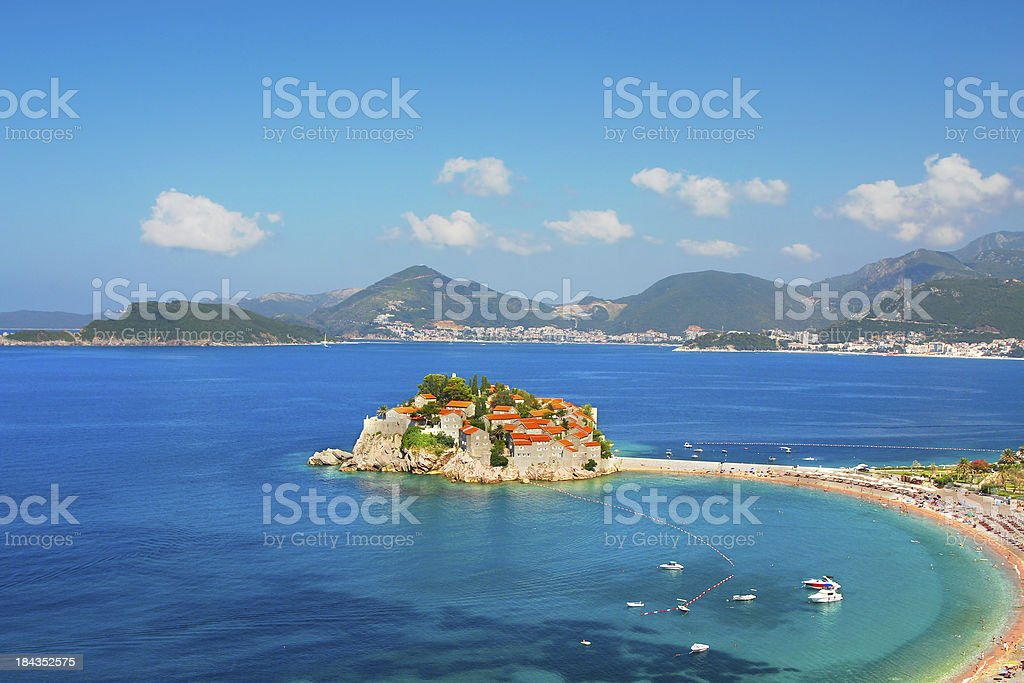 Sveti Stefan luxury peninsula stock photo