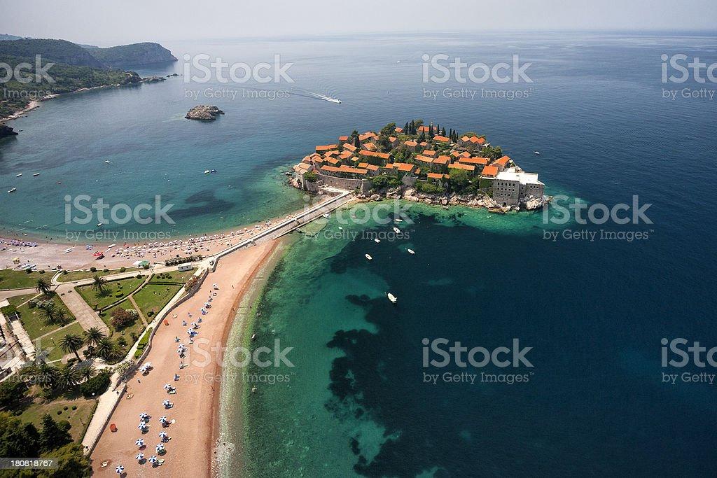 Sveti Stefan, Montenegro (aerial view) stock photo