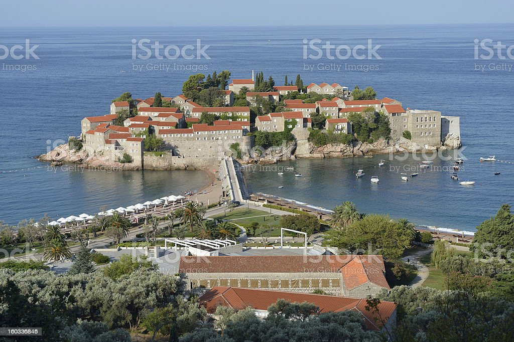 Sveti Stefan, small islet and resort in Montenegro. royalty-free stock photo