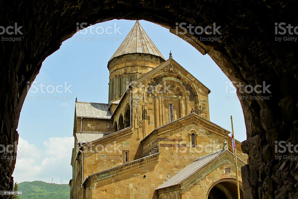 Svetitskhoveli church and castle complex panorama in Mtskheta, Georgia stock photo