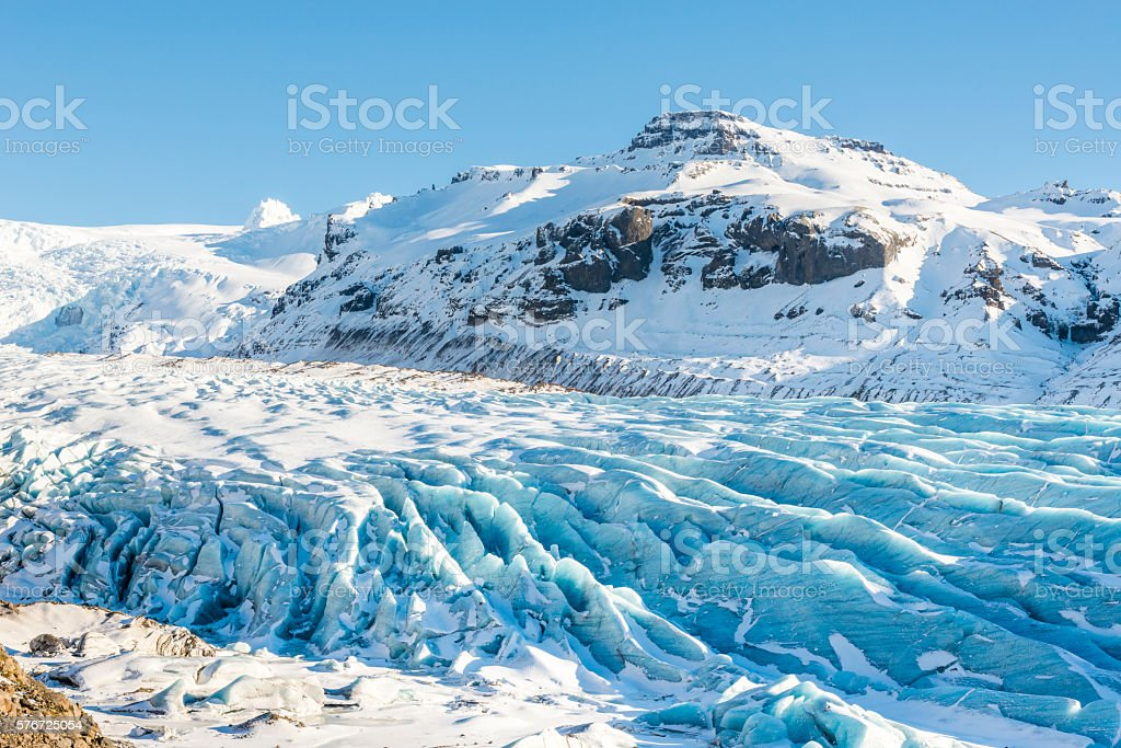 Svinafellsjokull glacier near Hofn. Skaftafell. Iceland in winter stock photo