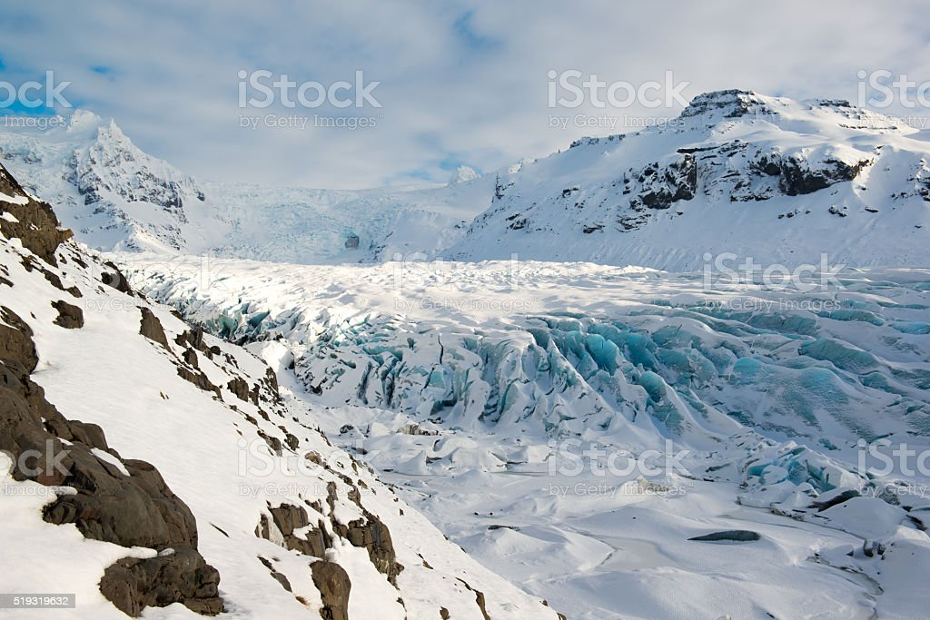 Svinafellsjokull glacier tongue in winter, blue ice, Iceland stock photo
