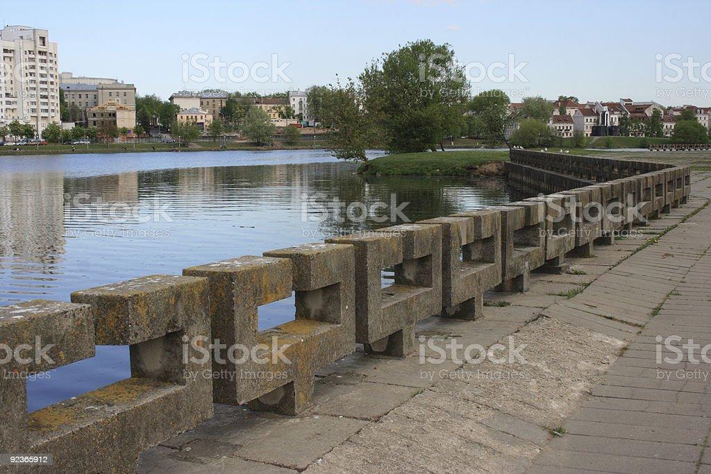Svislach river in Minsk, Belarus stock photo