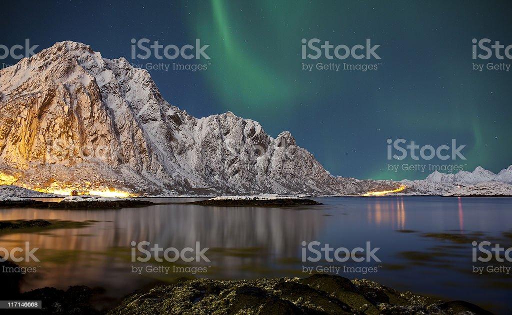 Svolvaer Aurora Borealis. stock photo