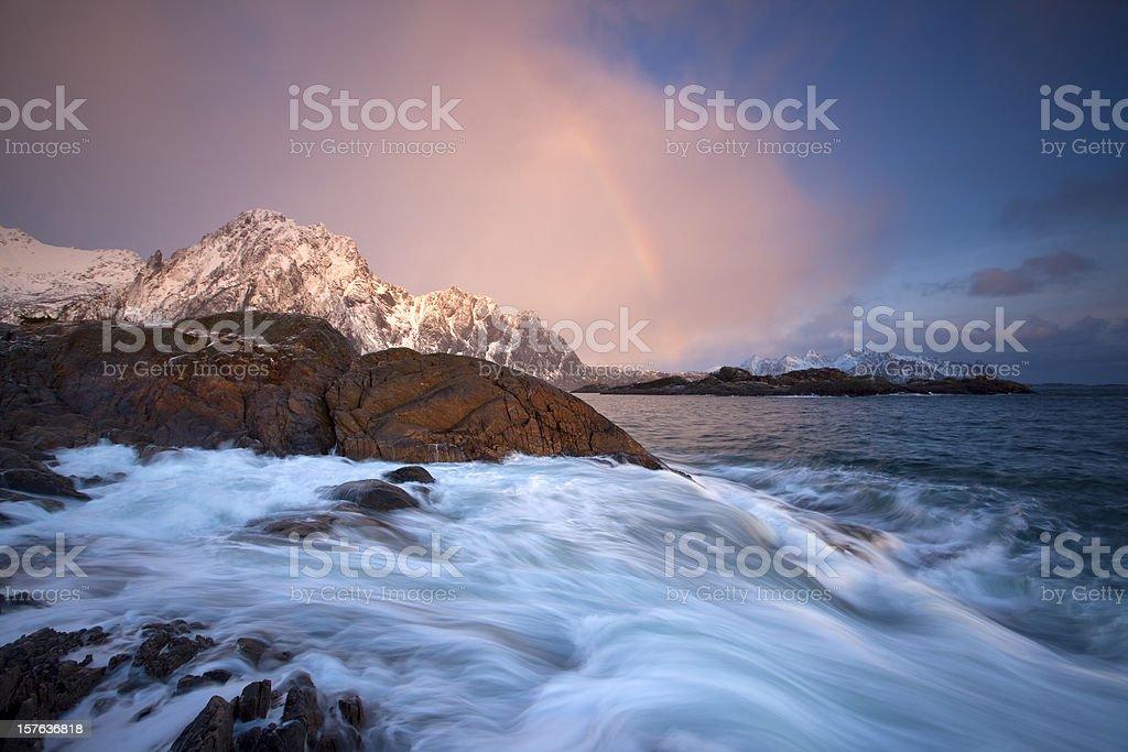 Svolvaer Rainbow royalty-free stock photo