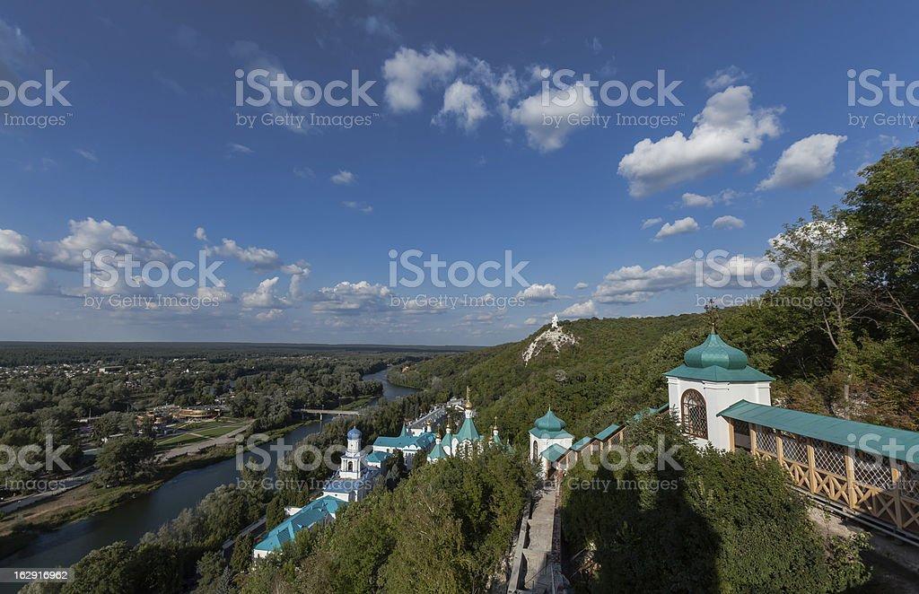Svyatogorsk Orthodox Monastery on Severskiy Donec river (Ukraine stock photo
