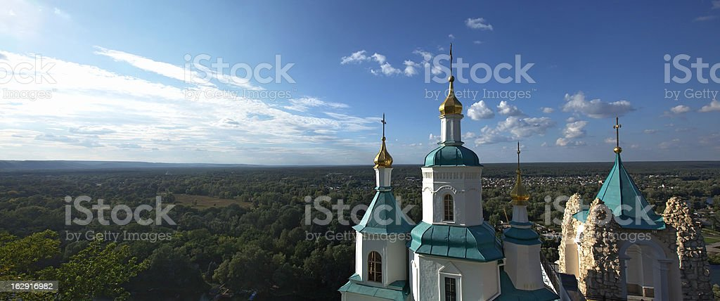 Svyatogorsk Orthodox Monastery on Severskiy Donec river (Ukraine royalty-free stock photo