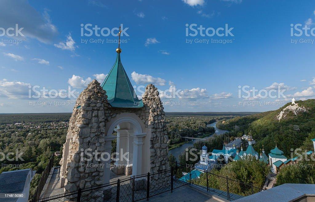 Svyatogorsk Orthodox Monastery on Severskiy Donec river (Ukraine royalty-free stock photo