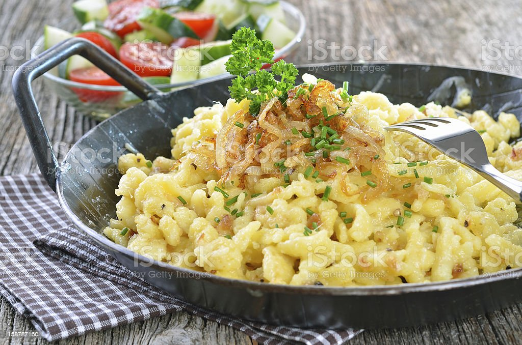 Swabian cheese noodles stock photo