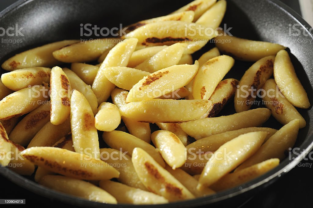 Swabian Grilled Noodles in Black Pan Schupfnudeln stock photo