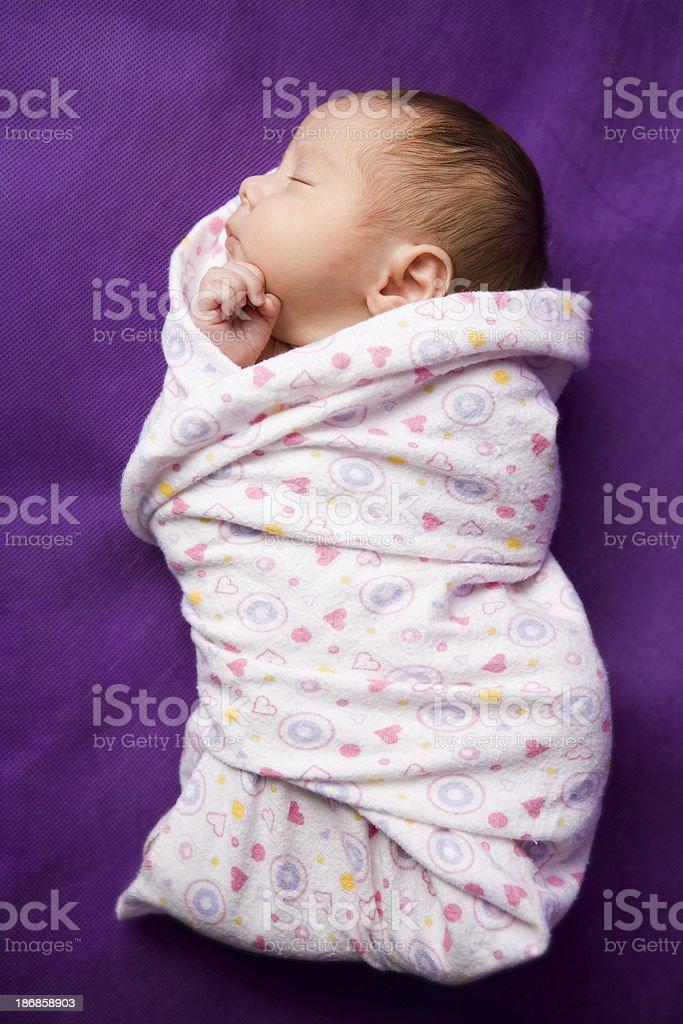 swaddled newborn - full length image royalty-free stock photo