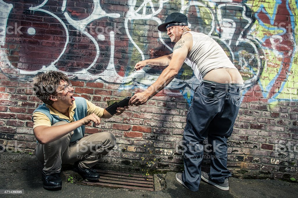 Swagger Sagging Pants Gangster Man Muggs Scared Teenager for Money stock photo