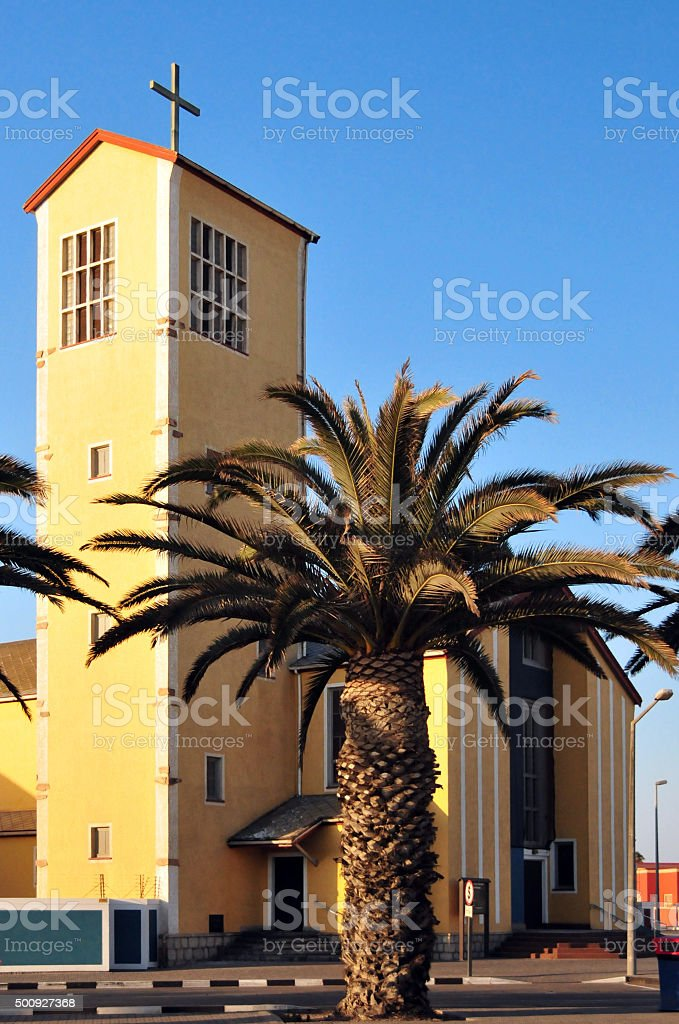 Swakopmund Catholic church, Namibia stock photo