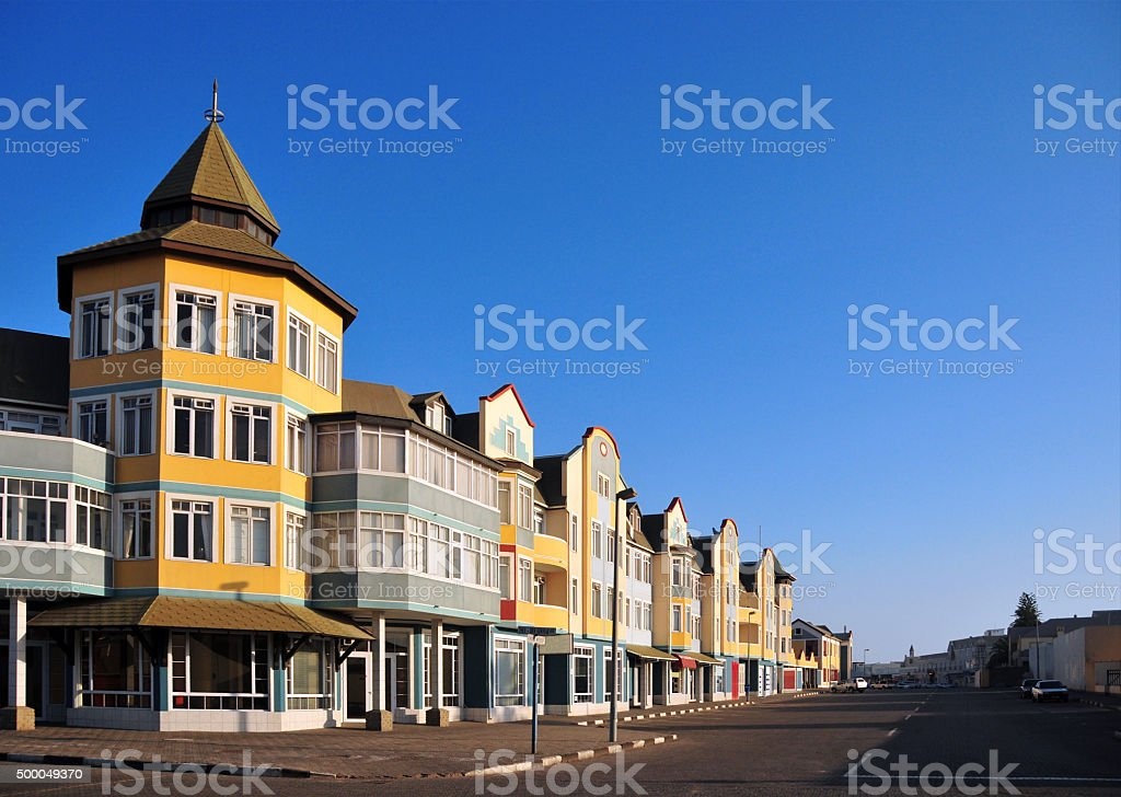 Swakopmund, Namibia: colorful colonial architecture, Schuller street stock photo