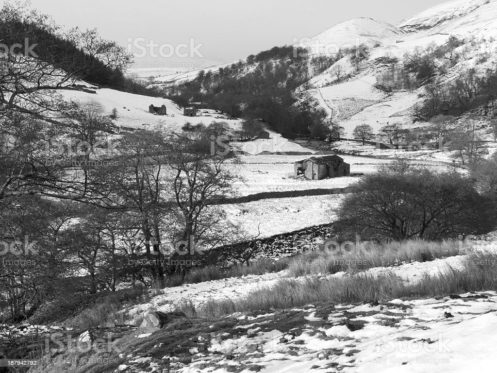 Swaledale Winter Landscape stock photo