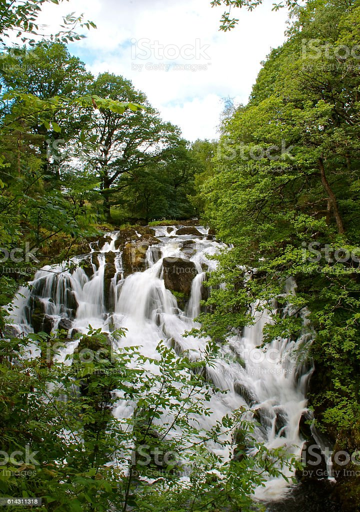 Swallow falls waterfall betws y coed North Wales stock photo