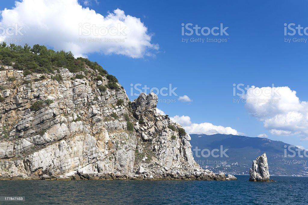 Swallow's nest rock. Stone Eagle. Ukraine. Gaspra. South shore o stock photo