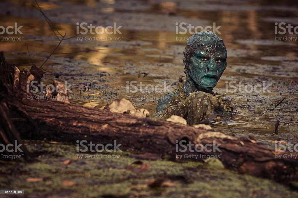 Swamp Monster lurking in the water royalty-free stock photo